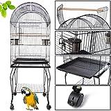 Iglobalbuy Volière Cage à Oiseaux Metal Canaries Perruches Perroquets Avec 2 Mangeoires