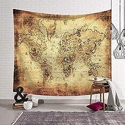 Tapiz Pared de Creativo,Morbuy Mapa del mundo 150 x 200 cm Decoración Tapices Mapa del mundo Impreso Tapicería Cubierta del Sofa Manteles Cortina Picnic Blanket Playa Accesorio Casero (Pequeño (130 x 150 cm), Papel viejo)