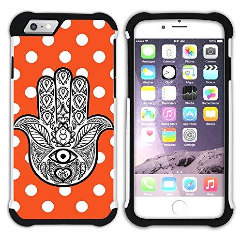 Graphic4You Hamsa Hand der Fatima Punktmuster Tupfen Muster (Wasserblau) Hart + Weiche Kratzfeste Hülle Case Schale Tasche Schutzhülle für Apple iPhone 6 Plus / 6S Plus Orange