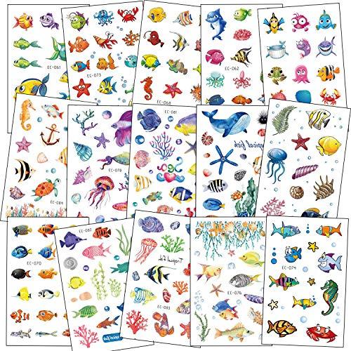SZSMART Meeresfisch Tattoos Set, Temporäre Tattoos Kindertattoos Aufkleber für Kinder Spielen Mitgebsel Kindergeburtstag geschenktüten
