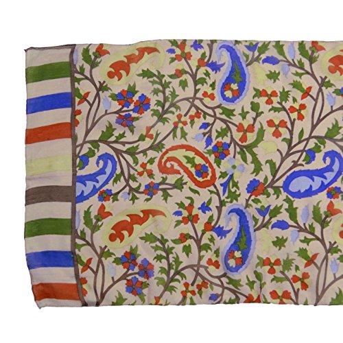 """Pur Foulard en soie femmes Neck Wrap imprimé Mode Rectangle Écharpes 70 """"x 20"""" pouces Off blanc et Olive Vert"""
