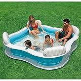 INTEX bifamigliare-Swimmcenter, 229 x 229 cm, valvola di scarico, sedile integrato 4 panche // Famiglie Swimming Pool PISCINA NUOTO piscina gonfiabile piscina piatti