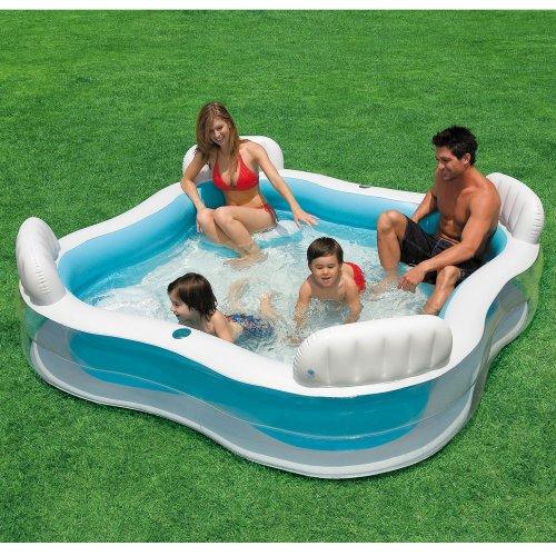 Preisvergleich Produktbild INTEX Familien-Swimmcenter, 229 x 229 cm, Ablaßventil, 4 integrierte Sitzbänke // Familienpool Swimming Pool Planschbecken Schwimmbecken Schwimmbad