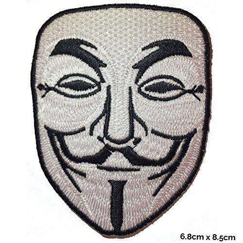 V für Vendetta Anonymous–Weiß Anwendung besticktes Patch Abzeichen Fancy Kleid Kostüm T Shirt Tasche Jacke ()