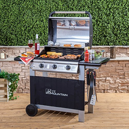 Fire Mountain, Everest 3 Burner Gas Barbecue - Stainless Steel