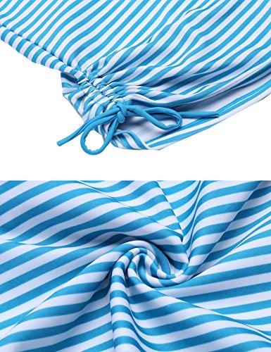 Avildove Tankini Streifen 2 Stück Set Bademode Gestreifte Damen Bikini Set Gepolsterte Monokini Bademode Zweiteilig Schwimmanzug Oberteile + Höschen Shorts Hellblau