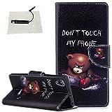 Sony Xperia XA1 Plus Leder Wallet Hülle Don't Touch My Phone Leder TOCASO Handyhülle für Sony Xperia XA1 Plus Schutzhülle Wallet Case Flip Cover BriefTasche hülle Holster - - Elektrische Sägebären