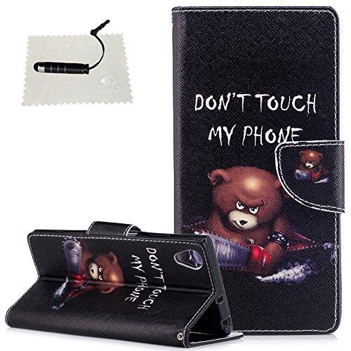 Sony Xperia XA1 Plus Leder Wallet Hülle Don't Touch My Phone Leder TOCASO Handyhülle für Sony Xperia XA1 Plus Schutzhülle Wallet Case Flip Cover BriefTasche hülle Holster - - Elektrische Sägebären -
