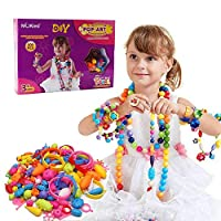 WISHTIME Kids Pop Snap Beads Set DIY Jewelry Kit for Necklace and Bracelet for Girls Art Crafts Gift Toys Assorted shape Fun Jewellery