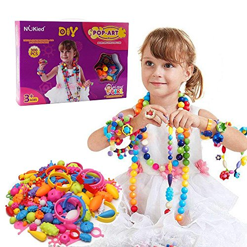 WISHTIME Jewellery Making Beads Kit Toy 300 Pieces Pop Snap Beads DIY Beadwork Kit Fashion Fun Necklace Ring Bracelet Art Crafts Kids Girls