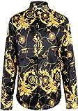 Pizoff Herren Luxus Palace Still Fashion Langärmliges Hemd mit Bunt Druckmuster Y1706-09-S