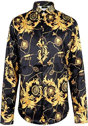 PIZOFF Herren Luxus Palace Still Fashion Langärmliges Hemd mit Bunt Druckmuster Y1706-09-L Jordan Stretch-cap