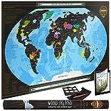 Wond3rland Cartina Geografica del Mondo da Grattare di Alta qualità Scratch Off Map | Mappa Poster Grande Personalizzabile| Idea Regalo per Viaggiatori & Tracciatura di Viaggio | BONUS Adesivi per parete + Penna Raschietto + Panno + eBook Viaggio