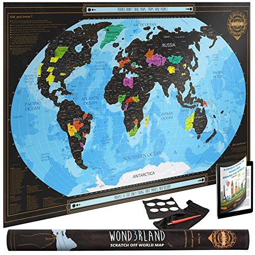 XL Scratch Off World Map - Premium Rubbel Weltkarte