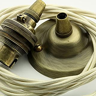 Vintage Styled Ceiling Pendant Kit incl. Antiqued Brass Finish Rose, B22 Bulb Holder and 3 Core Classic Ivory Braided Twisted Flex