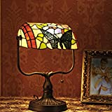 gweat Tiffany de 10pulgadas retro estilo de colores, hecho a mano cristal mariposa decorativa Banker lámpara de mesa