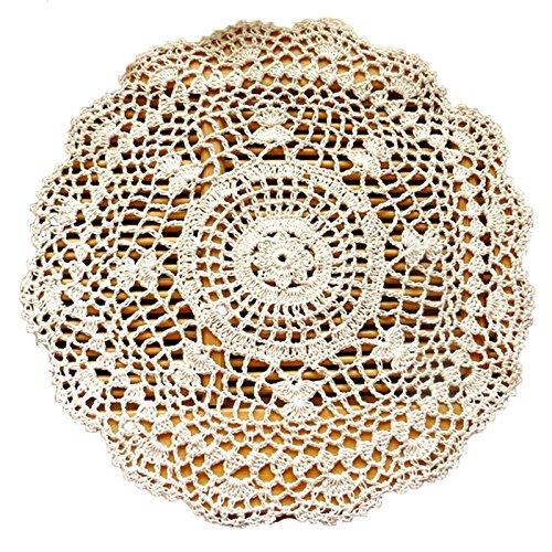 Vintage-Tischdecke, von Hand gehäkelt, rund, weiß, 35cm/13.78