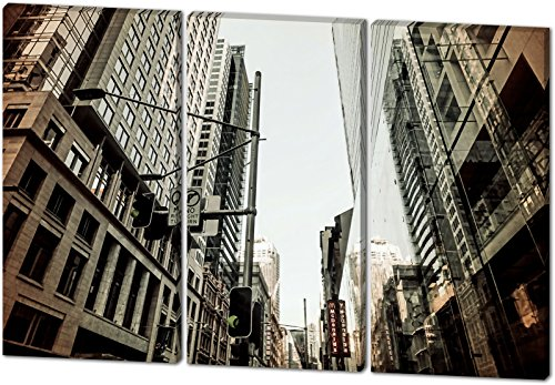 City, Gemälde Effekt, schönes und hochwertiges Leinwandbild zum Aufhängen in XXL - 3 Teiler mit 120cm x 80cm, echter Holzrahmen, effektiver Pigmentdruck, modernes Design für Ihr Büro oder Zimmer