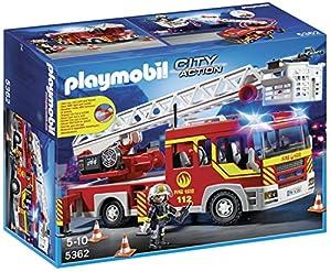 camiones: Playmobil Bomberos - Camión y escalera con luces y sonido, playset (5362)