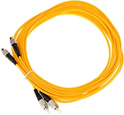 MagiDeal 5 Meters Single mode Double Core Fiber Optic Drop Cable FC to FC Yellow