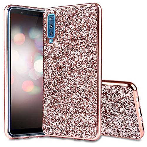 FNBK Coque de protection en silicone souple pour Samsung Galaxy A7 2018 Motif paillettes Rose Rose doré