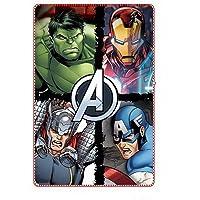 Coperta Plaid in Pile per Bambino degli Avengers Marvel con stampa supereroi Hulk, Thor, Iron Man e Capitan America…