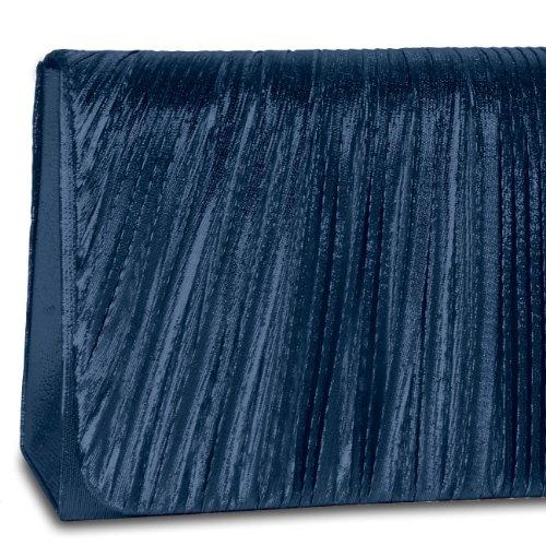 CASPAR Damen elegante Abendtasche / Clutch mit edel gerafftem Obermaterial und Zusatzkette - viele Farben - TA318 dunkelblau