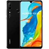 Huawei P30 Lite 128 GB 6.15 inch FHD Dewdrop Display Smartphone with 48MP AI Ultra-wide Triple Camera, 4GB RAM, Android 9.0 Sim-Free Mobile Phone, Single Sim, UK Version, Black