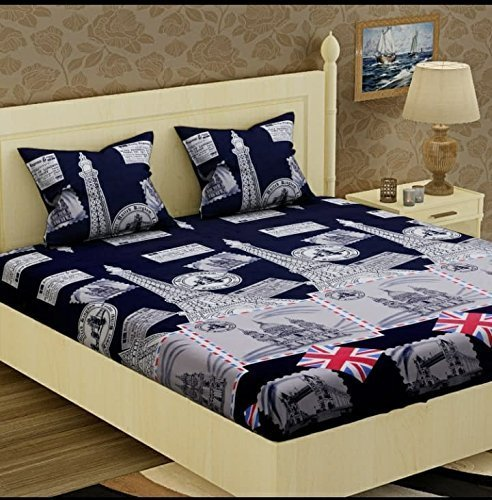 Glace Cotton King Size Double Bedsheet,Set of 1 Bedsheet and 2 Pillow...