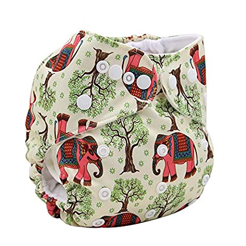 OHBABYKA Printed Design Reuseable Washable Pocket Cloth Diaper + 1 Insert (Elephant)