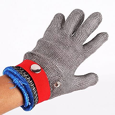 Safety Cut Proof Stab Resistant Stainless Steel Metal Mesh Butcher Red Glove Size L High Performance Level 5 Protection