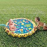 Addmluck Splash Pad Wasserspielzeug Garten Spielmatte Outdoor Sommer Garten Splash Spielmatte für Baby Party Sprinkler und Splash Play Matte 100CM Spaß für Baby, Kinder, Hund und Haustiere