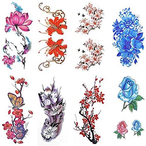 rosenice 8 feuilles Colle Faux tatouage tattoo étanche Rose Fleur pour Femmes Enfants