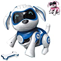RCTecnic Chien Robot Rock Chien Jouet Interactif avec Emotions et Mouvement, Abois et Jeux avec Son Os, Batterie…
