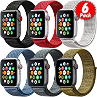 MAZTRON 6-Pack Nylon Band Compatible with Apple Watch 44mm 42mm size, Soft Light-weight Breathable Sport Loop Replacement Strap for iWatch Series 5/4/3/2/1