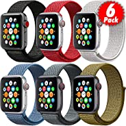MAZTRON 6-Pack Nylon Band Compatible with Apple Watch 38mm 40mm 42mm 44mm size, Soft Light-weight Breathable R