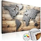 murando - Cuadro - Tablero de corcho 120x80 cm - Cuadro sobre corcho - Mapamundi Mundo Continente Madera - k-C-0033-p-a