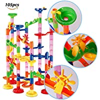 dOvOb Marble Run Toys - Construction Building Blocks Set (105PCS) - Coaster Railway DIY Games for Over 3 Year Olds Kids As Gifts