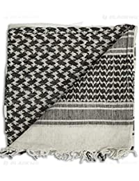 Black and White Cotton Shemagh Arab Scarf Keffiyeh Tactical Military Headscarf