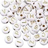 Cheriswelry 200 cuentas acrílicas de oro blanco del alfabeto de 7 mm de disco redondo plano de moneda A-Z, cuentas espaciador
