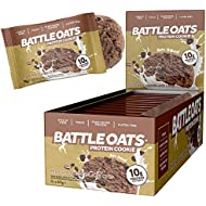 Battle Oats Vegan High Protein Cookies, 60g Pack of 12 Biscuit - Mocha Chocolate Chip