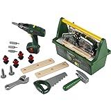 Theo Klein 8429 Caja de herramientas Bosch, Con sierra, martillo, alicates y mucho más, Destornillador eléctrico a pilas, Med