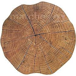 matches21 Tischset Platzset MOTIV Baumstamm Baum Scheibe Holzoptik braun 8 Stk. rund Ø 35 cm Kunststoff Platzmatte undurchlässig abwaschbar abwischbar