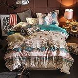 Topmail Set biancheria da letto in cotone 4 pezzi di lusso 300TC 1x Copripiumino 220x240cm 1xLenzuolo di sotto 245 * 270cm 2x Federa 48x74cm adatto per 2,0m letti