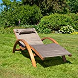 Ampel 24 Relax Liegestuhl Tropica | 100% wetterfeste Gartenliege | vorbehandeltes Holz | mit Armlehnen | Bezug braun - 6