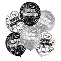 "Black Silver Grey Glitz Happy Birthday Latex Balloons Mix 12"" Boys/Girls Birthday Supplies. (6/Pack Black Silver White)"