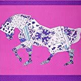 Écharpe Carrée pour Femmes - Cheval De Poker Echarpes - Cou Châle Foulard Élégant/Léger, Cadeaux De, Pink,130 * 130cm