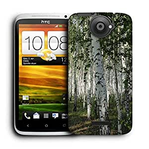 Snoogg White Trees Printed Protective Phone Back Case Cover For HTC One X