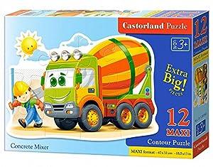 CASTORLAND Concrete Mixer 12 Maxi pcs Contour Puzzle 12 Pieza(s) - Rompecabezas (Contour Puzzle, Dibujos, Preescolar, Niño/niña, 3 año(s), Interior)