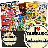 I ❤️ Duisburg | Schokoladen Set | Geschenkideen | I ❤️ Duisburg | Schokolade Set | Geschenke für Männer Duisburg | mit Puffreis Tafel, Mokka Bohnen, Halloren und mehr | GRATIS DDR Kochbuch